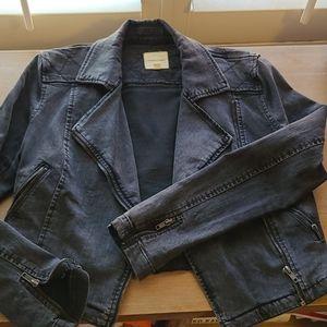 Silence+Noise Denim Moto Jacket - Washed Black